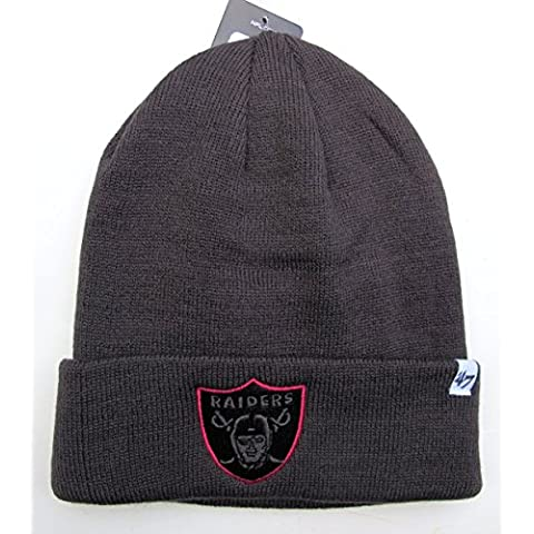 NFL Oakland Raiders grafite con contorno rosa Raised Cuff Knit