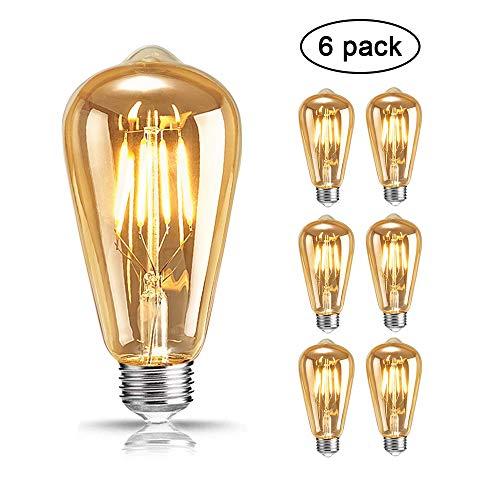 Edison Vintage Glühbirne, Mixigoo Edison LED Lampe E27 4W Retro Glühbirne Warmweiß Antike Glühbirne Squirrel Cage Filament Ideal für Nostalgie und Retro Beleuchtung im Haus Café Bar usw - 6 Stück