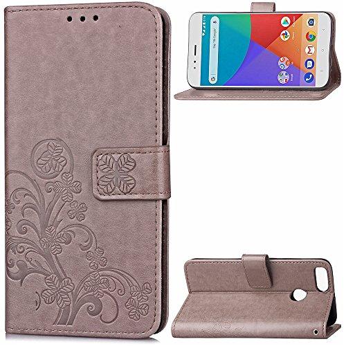 Funda Xiaomi Mi A1 / 5x,funda piel GOGME[Serie Flor Mariposa]Flor de mariposa con relieve retro,Carcasa elegante, resistente, funcional y cómoda.gris