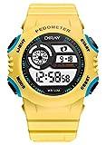 DIRAY Unisex Elektronische Uhr Multifunktionsuhr Jungen Mädchen Sportuhr Datum Alarm Schrittzähler Stoppuhr Outdoor Mode Digitaluhren Jungendliche Armbanduhr - Gelb