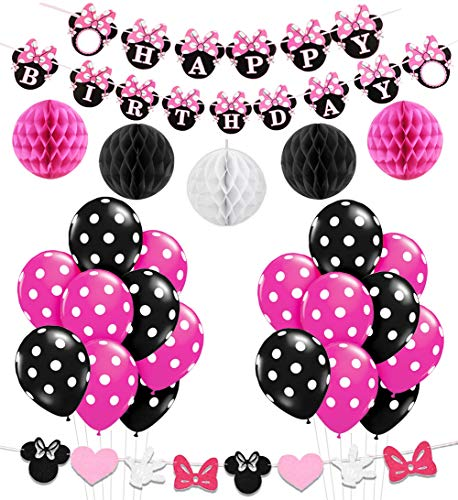 KREATWOW Minnie Mouse Girls Geburtstag Party Dekoration, Minnie Mouse Stirnband, Alles Gute zum Geburtstag Banner, Schwarze Rose Red Balloons