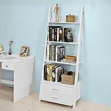 SoBuy® Estanteriá en escalera de pared,Librería , 4 áreas y 2 cajones de almacenamiento,blanco,H171cm,FRG230-W,ES