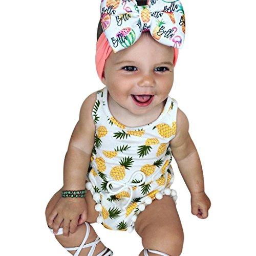 Simonabo Für 3 ~ 18M Baby, Polyester Schnürung Ananas Spielanzug Overall Sunsuit Kleidung Outfit (80, Weiß)
