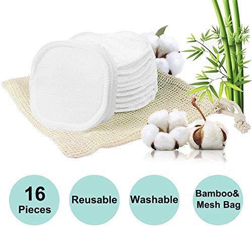 16 Waschbare Wattepads Wiederverwendbar | Waschbare Abschminkpads aus Bambus & Baumwolle mit Wäschebeutel | Umweltfreundlich | Makeup Entferner Pads | Gesichtsreinigung | Zero Waste