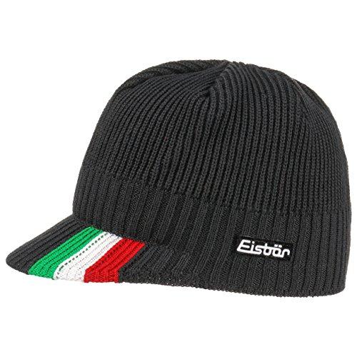 Eisbär Italien Ski Cap Strickmütze mit Schirm Schirmmütze Wintermütze Skimütze Wintercap Wollcap (One Size - schwarz)