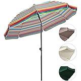 Sekey® Sombrilla Ø 200 cm parasol para terraza jardín playa balcón piscina patio , color Rayas rojas , protector solar UV25+