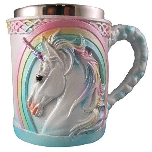 Everspring Import Company Regenbogen-Einhorn-Kaffeetasse, niedliche mythische Tee-Schale, magisches Edelstahl-Fantasie-Trinkglas, mittelalterlicher keltischer Knoten-Entwurf weiß, blau, rosa, gelb