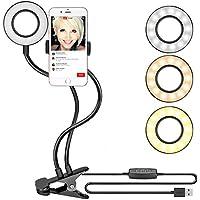 Neewer Abrazadera Selfie Anillo Luz con Soporte para Teléfono Movil para Transmisión en Vivo, Youtube, Regulable (Modo 3-Luz, Brillo de 8 Niveles) con Soporte Diferido para iPhone, Samsung, HTC(Negro)