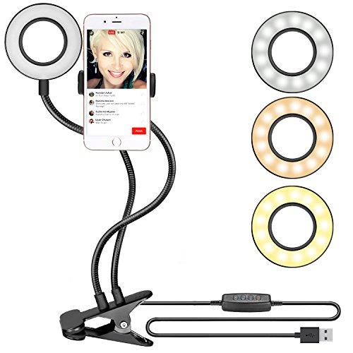 Neewer Ansteck Selfie Ringleuchte mit Handyhalter für Liveübertragung, Youtube Video, dimmbar (3-Licht-Modus, 8 Helligkeits Ebenen) mit Halterung für iPhone 8/7 / 6S, Samsung, HTC (Schwarz)