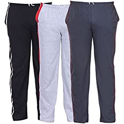TeesTadka Men's Cotton Track Pants Pack of 3