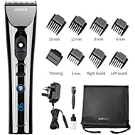 WONER Cordless Hair Clippers for Men Professional Rechargeable Hair Trimmers Hair Cutting Kit Titanium Ceramic Blade LED Display 2000mAh Lithium Ion