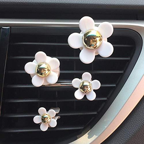 DGJEL 4 Teile/los Blume Auto Diffusor Lufterfrischer Air Vent Clip Parfüm Auto Innendekoration Auto Aroma Autozubehör Für Mädchen, 4 stücke weiße Blume