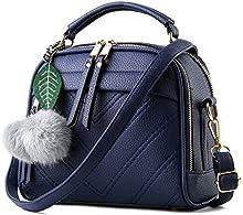 Wen Mei Womens Pure Color Boutique bolsas de piel sintética asa superior bolso de mano