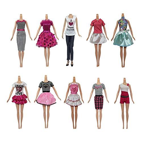 10Stück Barbie Puppe Kleidung Outfits Kleid für Barbie Puppe Geschenke Spielzeug für Mädchen (Kleidung Kleid Barbie)