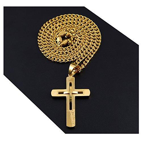 Halskette mit Kreuz-Anhänger, filigranes Kreuz 18 Karat Gold, massiv, anlaufgeschützt