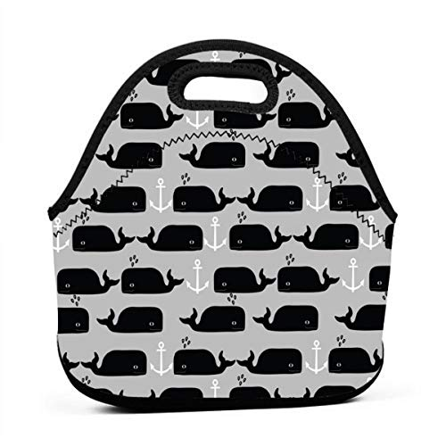 13aeb6165138 Whale Anchor Nautical Greyscale Monochrome Minimal Swedish Kids Summer  Neoprene Lunch Bag with Cutlery Case for Thermal Thick Lunch Tote Bag for  ...
