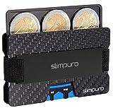 slimpuro Cassa della carta di credito Premium Carbon con Coin Vano e Metal Money Clip per un massimo di 16 Carte - RFID/NFC Protezione - Portafoglio sottile per gli uomini minimalista Carbone nero