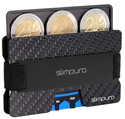 SLIMPURO ® Kreditkartenetui mit Münzfach ATTO - Carbon Slim-Wallet mit Aluminium CoinCard - TÜV geprüft RFID Schutz - Kartenetui mit Geldklammer - Mini Geldbörse Geldbeutel - Designed in Germany