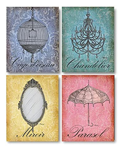 Gango Home Decor Parisian Market I Lovely French Birdcage, Mirror, Umbrella and Chandellier; Four 8 x 10 Poster Prints
