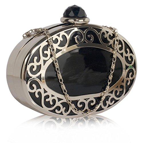 LeahWard Frauen Sparkly Diamante Kristall Clutch Abend Handtaschen Tasche für Hochzeits Nacht Abschlussball CWE285 (Schwarz Mesh Metallic Box Clutch Bag) (Mesh Abend-handtasche)