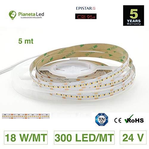 Rolle 5Meter Streifen 1500LED 2216SMD Warmweiß Warm White 2700K 5MT 24V DC mit Klebeband 3m CRI 95+ Mod. Premium - 5 Warm White Led-chips