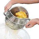 Clip sul filtro del cibo, colino da cucina in acciaio, , colino microforato – lavabile in lavastoviglie. Perfetto per scolare pasta, verdure, patate,universale per tutte le pentole e ciotole