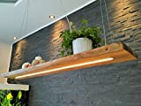 Deckenlampe Hängelampe Pendelleuchte Holz Douglasie Nussbaum 120cm Hängeleuchte mit Unterlicht, inkl. Fernbedienung Dimmbar