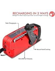 Ecloud Shop® Linterna [2016 Mejorado] solar de la emergencia de la manivela Auto Powered AM / FM / NOAA Weather Radio, 50 lumen LED y 1000mAh Móvil del cargador del banco de alimentación rojo