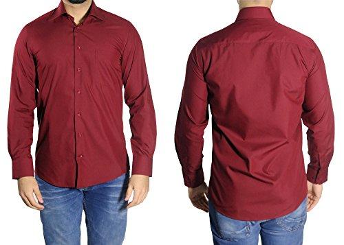 MUGA -  Camicia classiche  - Basic - Classico  - Maniche lunghe  - Uomo Bordeaux