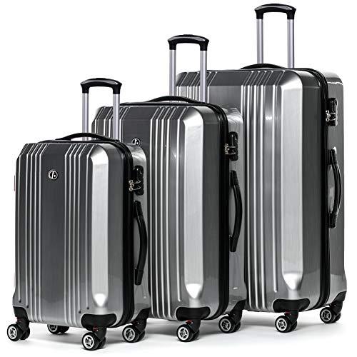 FERGÉ Kofferset Hartschale 3-teilig Cannes Trolley-Set - Handgepäck 55 cm L XL - 3er Hartschalenkoffer Roll-Koffer 4 Rollen 100% ABS & PC Silber
