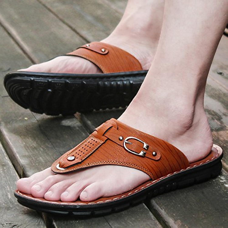 ZHANGJIA der Sommer Herren Sandalen  Legere Schuhe  Rutschfeste und Wearable Koreanische Hausschuhe  42  BrauneZHANGJIA Sandalen Rutschfeste Koreanische Hausschuhe