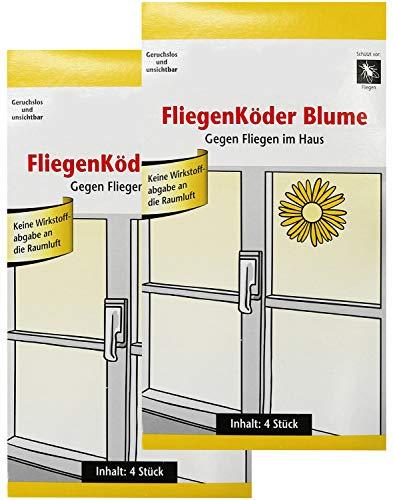 com-four® 8 Fliegenköder in Blumenform, Fensteraufkleber zum Einfangen von Fliegen (08 Stück - Köder)