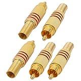 sourcing map 5 Stück gefederte vergoldete rca weiblicher Audio-Video-Stecker für Kabeldraht
