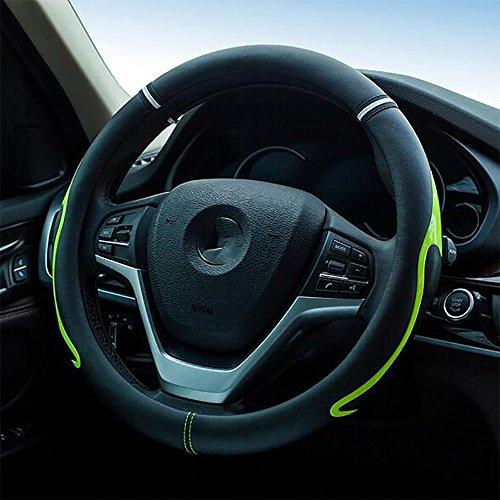 Steering Wheel Cover Echtes Leder Auto Lenkradabdeckung Universal Fit 15 Zoll Anti-Slip &...