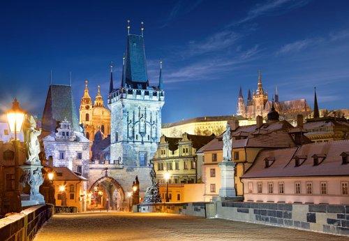 Unbekannt Puzzle 1000 Teile - Prag Karlsbrücke bei Nacht - Tschechische Republik - Moldau Nachts Brücken UNESCO Weltkulturerbe - Tschechien