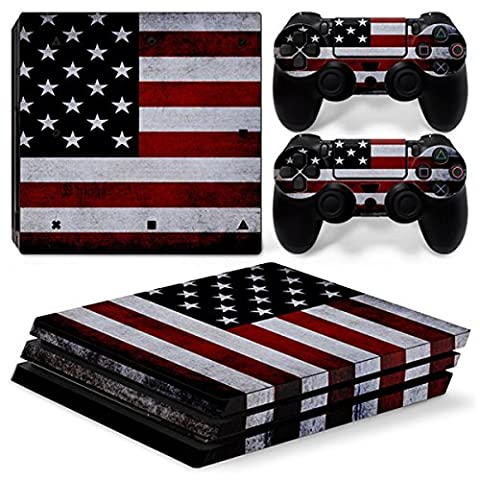Morbuy PS4 Pro Skin Vinyl Autocollant Sticker Decal pour Playstation 4 Pro console and 2 Dualshock Manette Set (Flags USA)