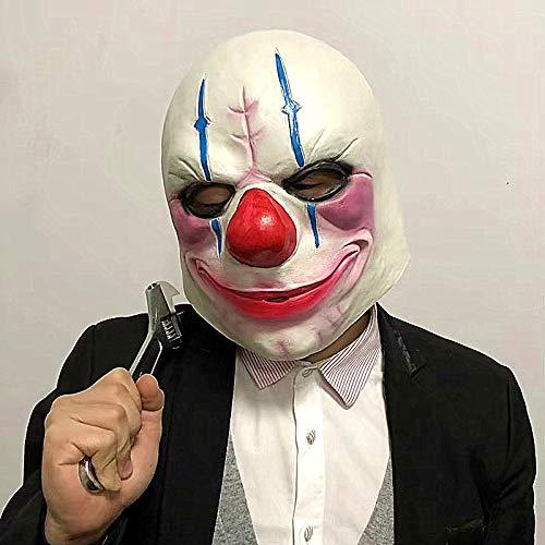 Lanyifang Payday 2 The Heist: Zahltag Ketten Maske für Halloween Prop Heist Maske Joker Clown Cosplay Kostüm Requisiten Sammlung Dekoration