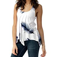 94fe807a6f Camisas Mujer Elegantes ❤ LANSKIRT Camisas de Mujer Tops sin Mangas Blusas  de Estampado Mujer