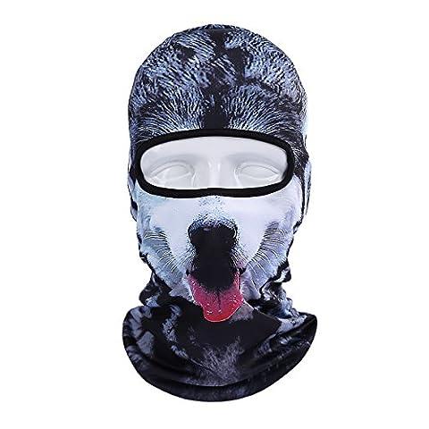 ECYC Warm Face Mask Windproof Balaclava Hood pour moto Ski Winter Snowmobile Recherche en plein air Cold Weather [Gray Hound Dog]