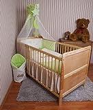 Amilian® Baby Bettwäsche Himmel Nestchen Bettset MIT STICKEREI 100x135cm Neu für Babybett Teddy grün Chiffonhimmel