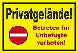 Schild - Verbot der Einfahrt - Privatgelände - Betreten für Unbefugte verboten – 30x20cm mit Bohrlöchern   stabile 3mm starke PVC Hartschaumplatte – S00358-009-C +++ in 20 Varianten erhältlich