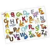 nikima - Kinder Tier ABC Poster Plakat in 3 Größen A3/A2/A1 Tiere Alphabet Buchstaben Wandbild Kinderzimmer schöne Wanddeko (A3-420 x 297 mm)