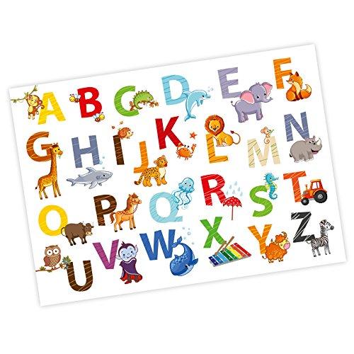 nikima - Kinder Tier ABC Poster Plakat in 3 Größen A3/A2/A1 Tiere Alphabet Buchstaben Wandbild Kinderzimmer schöne Wanddeko (A2-594 x 420 mm)