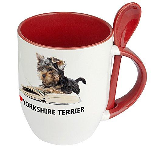 Hundetasse Yorkshire Terrier - Löffel-Tasse mit Hundebild Yorkshire Terrier - Becher, Kaffeetasse, Kaffeebecher, Mug - Rot