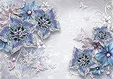 Fototapete Blau Orchidee Diamant Metallic Ornament Perlen Schmetterlinge Blumen XL 350 x 245 cm - 7 Teile Vlies Tapete Wandtapete - Moderne Vliestapete - Wandbilder - Design Wanddeko - Wand Dekoration wandmotiv24