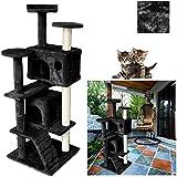 VINGO® Katzenspielzeug Kratzbaum mit Sisal-Kratzbaum und vielen Spiel ca.50 x 50 x 130 cm Aussichtsplattformen Kuschelhöhlen Schwarz