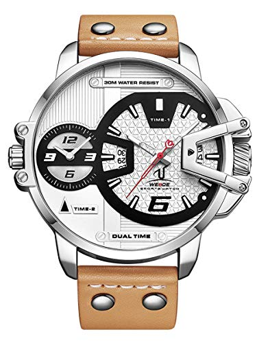 Alienwork Reloj Hombre Relojes Piel de Vaca marrón Analógicos Cuarzo Calendario Fecha Plata Blanco Impermeable XXL Oversized
