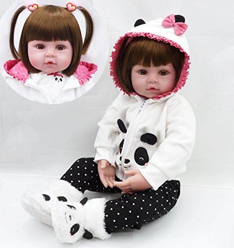 iCradle Realistische Weiche Silikon Vinyl Reborn Babypuppen Mädchen Kleinkind Reborn Baby Dolls Lebensechte Puppen Magnetisch Mund Geburtstagsgeschenk (24