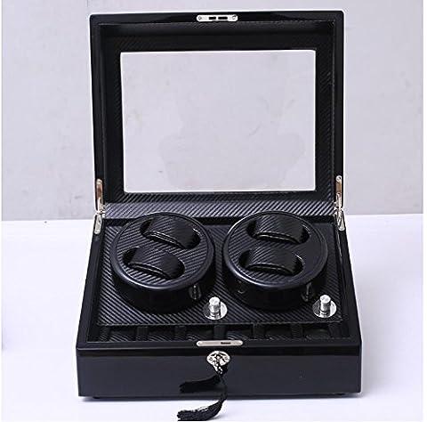 2017 Montres deplacer, Mettre en sourdine Fibre de carbone noir Rotation automatique Boîte de montre,4 + 6 Position , black