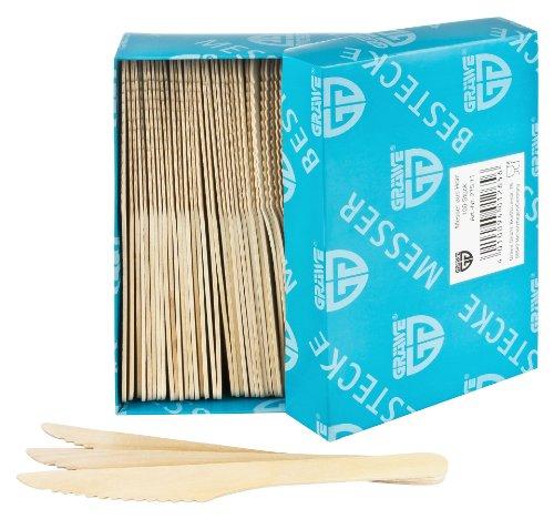 GRÄWE® Einwegbesteck - Messer Holz 100 Stück (Holz-stücke)